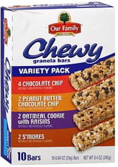 Our Family Granola Bars Chewy, Variety Pack