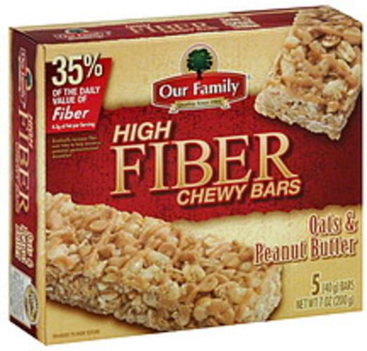 Our Family High Fiber, Oats & Peanut Butter Chewy Bars - 5 ea