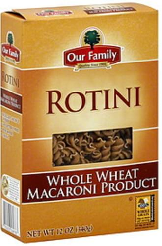 Our Family Whole Wheat Rotini - 12 oz