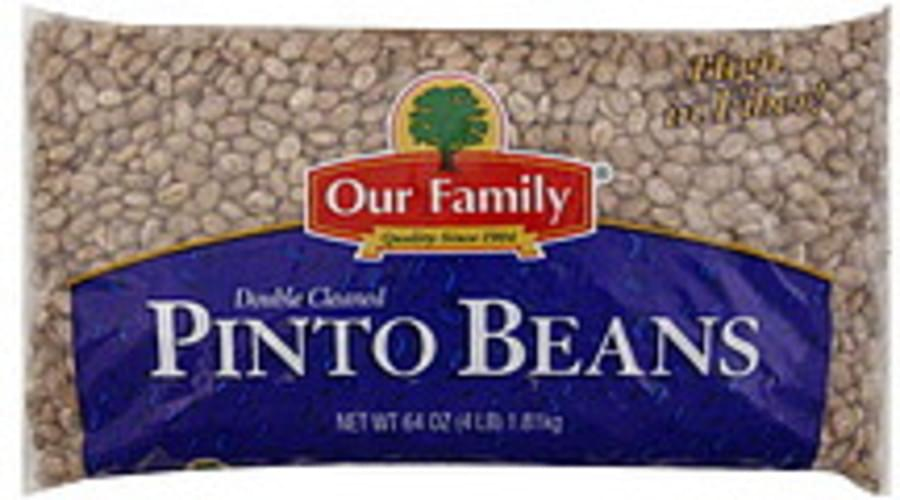 Our Family Double Cleaned Pinto Beans - 64 oz