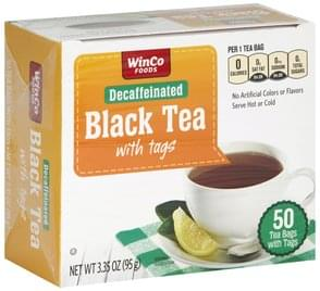 Winco Foods Black Tea Decaffeinated, with Tags, Bags