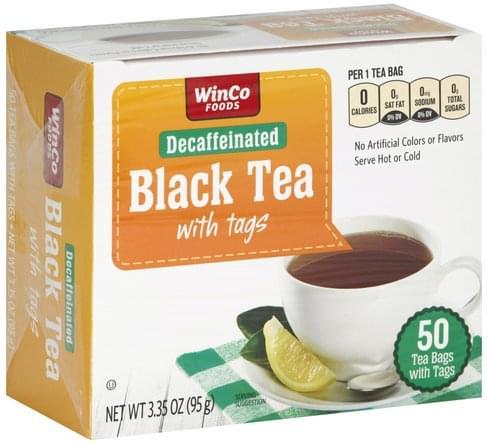 Winco Foods Decaffeinated, with Tags, Bags Black Tea - 50 ea