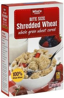 Winco Foods Cereal Wheat Cereal, Whole Grain, Shredded Wheat, Bite Size