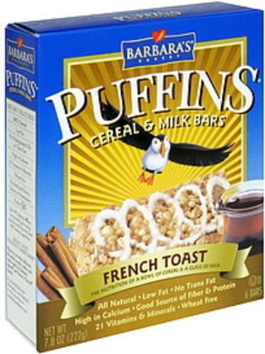 Barbaras French Toast Cereal & Milk Bars - 6 ea