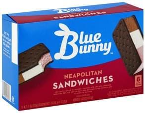 Blue Bunny Ice Cream Sandwiches Reduced Fat, Neapolitan