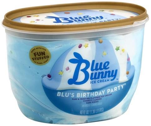 Terrific Blue Bunny Blus Birthday Party Ice Cream 46 Oz Nutrition Funny Birthday Cards Online Hendilapandamsfinfo