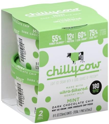 Chillycow Light, Mint Dark Chocolate Chip Ice Cream - 2 ea