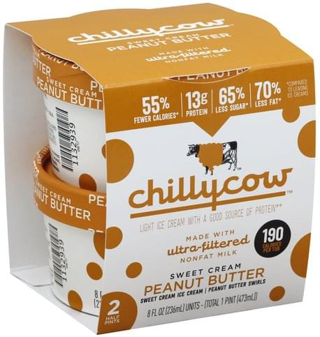 Chillycow Light, Sweet Cream Peanut Butter Ice Cream - 2 ea