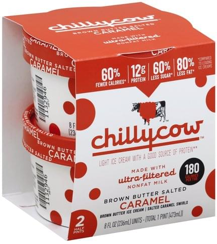 Chillycow Light, Brown Butter Salted Caramel Ice Cream - 2 ea