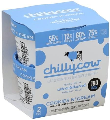 Chillycow Light, Cookies N' Cream Ice Cream - 8 ea
