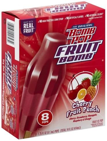 Bomb Pop Cherry Fruit Punch Fruit Ice Pop - 8 ea