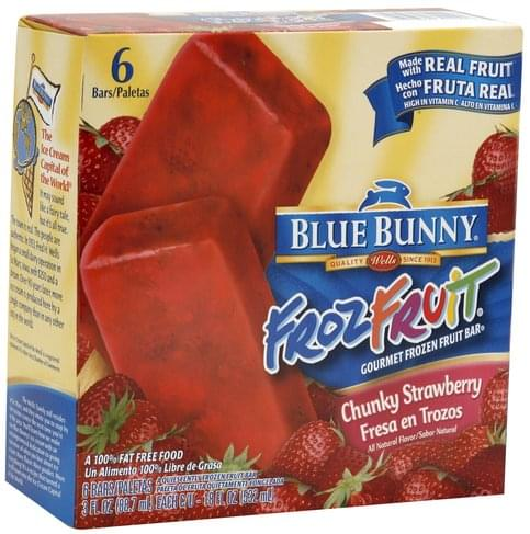Blue Bunny Chunky Strawberry Gourmet Frozen Fruit Bar - 6 ea