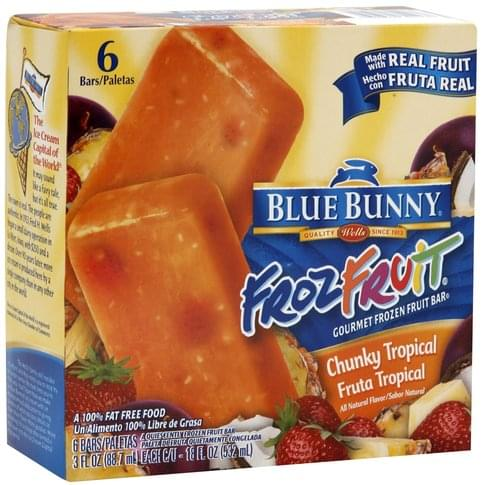 Blue Bunny Chunky Tropical Gourmet Frozen Fruit Bar - 6 ea