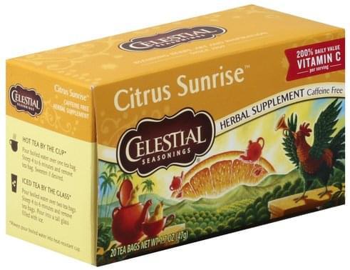 Celestial Seasonings Caffeine Free, Citrus Sunrise Herbal Supplement - 20 ea