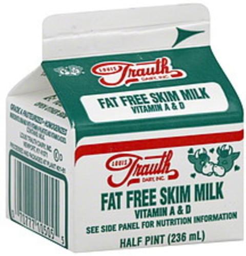Louis Trauth Dairy Skim, Fat Free Milk - 0.5 pt