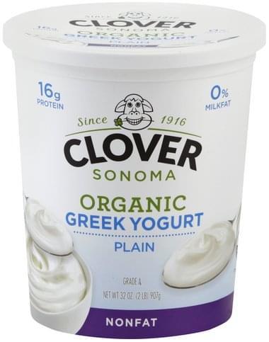 Clover Greek, Nonfat, Organic, Plain Yogurt - 32 oz