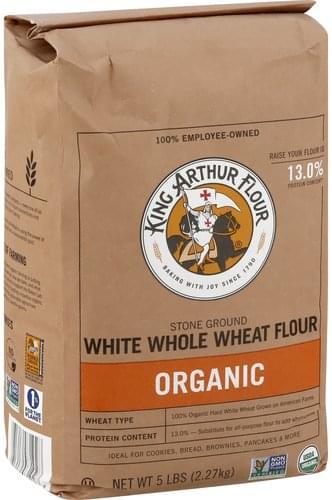 King Arthur Flour Flour, White Whole Wheat, Stone-Ground, Organic Whole Wheat Flour - 5 lb