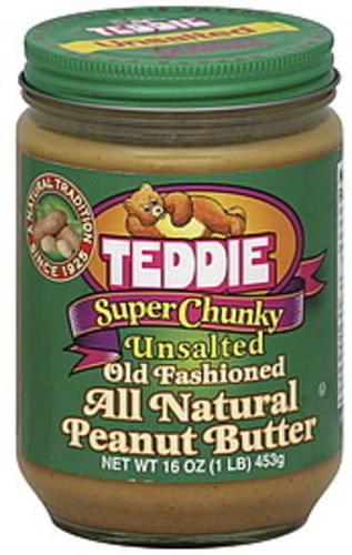 Teddie Unsalted, Super Chunky Peanut Butter - 16 oz