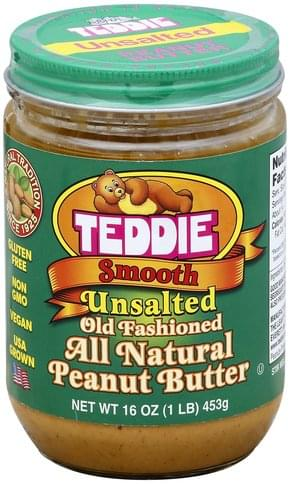Teddie All Natural, Unsalted, Smooth Peanut Butter - 16 oz