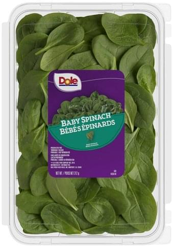 Dole Baby Spinach 312 G Nutrition Information Innit