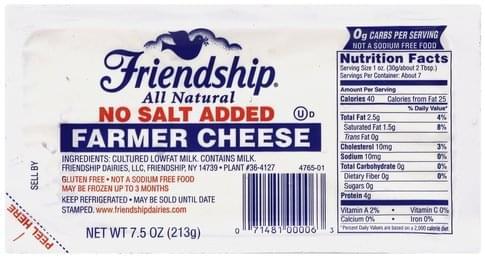 Friendship Farmer, No Salt Added Cheese - 7.5 oz