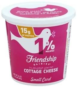 Friendship Cottage Cheese Small Curd, 1% Milkfat, Low Fat