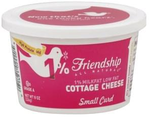 Friendship Cottage Cheese Low Fat, Small Curd, 1% Milkfat