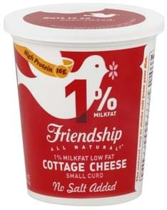 Friendship Cottage Cheese Low Fat, Small Curd, 1% Milkfat, No Salt Added