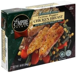 Empire Kosher Lemon Pepper Chicken Breast with Rib Meat with Vegetable Medley & Rice