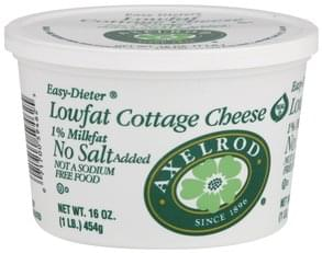 Axelrod Cottage Cheese Lowfat, No Salt Added, 1% Milkfat