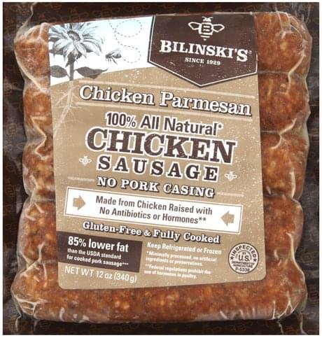 Bilinskis Chicken, Chicken Parmesan Sausage - 12 oz