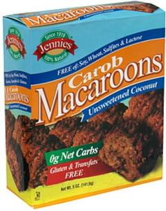 Jennies Macaroons Carob Macaroons, Unsweetened Coconut