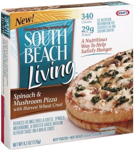 South Beach Living Spinach & Mushroom with Harvest Wheat Crust Pizza - 6.2 oz
