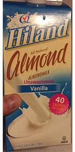 Hiland All Natural Almond Milk Unsweetened Vanilla