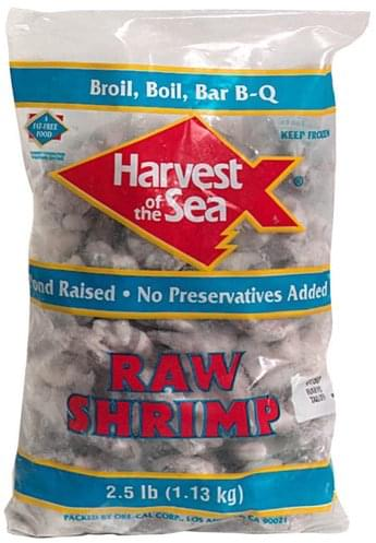 Harvest of the Sea Tail-On Raw Shrimp - 2.5 lb