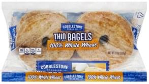 Cobblestone Bread Bagels Thin, 100% Whole Wheat, Sliced