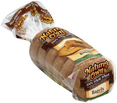Natures Own 100% Whole Wheat, Pre-Sliced Bagels - 20 oz
