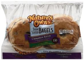 Natures Own Bagels Cinnamon Raisin, Thin Sliced