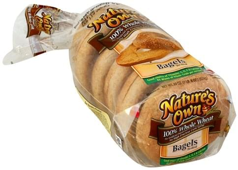 Natures Own 100% Whole Wheat Bagels - 22 oz