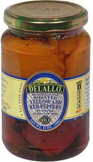 DeLallo In Water, Mild Roasted Yellow and Red Peppers - 12 oz