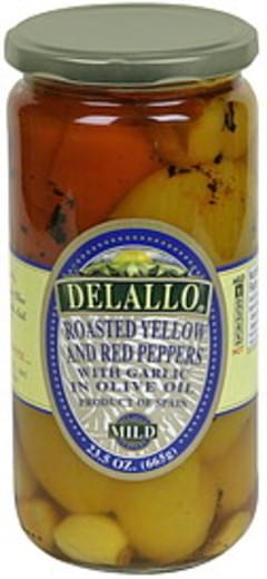 Delallo Roasted Yellow and Red Peppers with Garlic in Oil, Mild