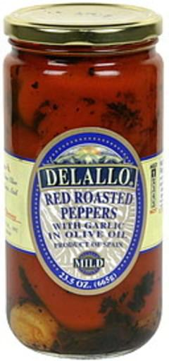 Delallo Red Roasted Peppers with Garlic in Olive Oil, Mild