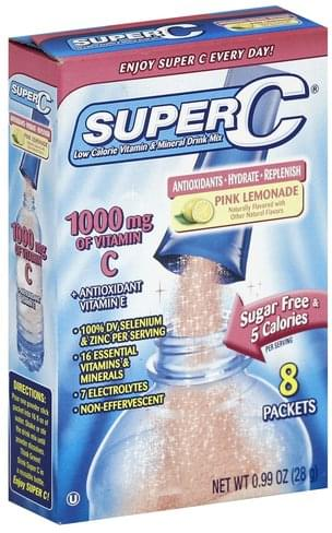 Super C Vitamin & Mineral, Low Calorie, Pink Lemonade Drink Mix - 8 ea