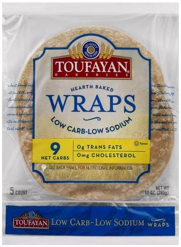 Toufayan Low Carb-Low Sodium Wraps - 5 ea