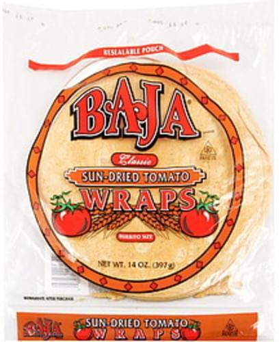 Baja Burrito Size, Sun-Dried Tomato Wraps - 14 oz