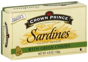 Crown Pre Sardines Lightly Smoked, with Green Chilies