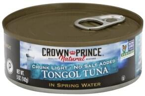 Crown Prince Tongol Tuna No Salt Added, Chunk Light