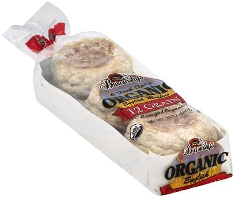 Barowskys Organic, 12 Grain, Fork Split English Muffins - 6 ea