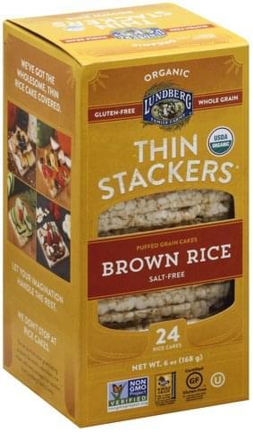 Lundberg Organic, Salt-Free, Brown Rice Rice Cakes - 24 ea