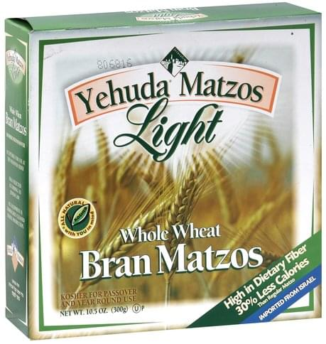 Yehuda Matzos Whole Wheat Bran Matzos - 10.5 oz